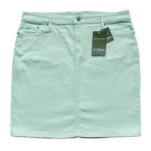 New LL Bean Green Garment Dyed 1912 Jean Skirt 14